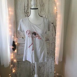 Crown & Ivy Sequined Flamingo Burnout T-shirt